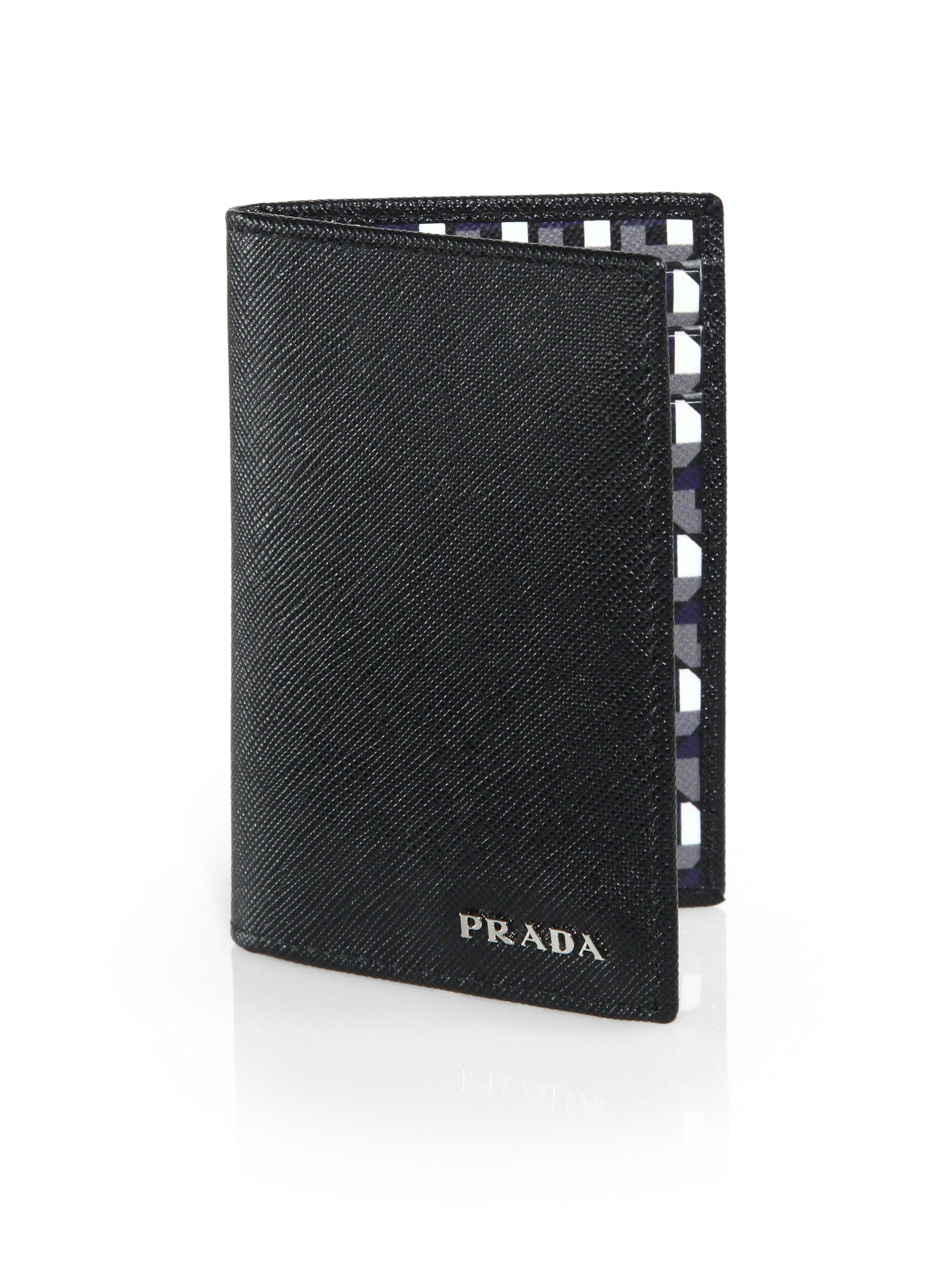20e8e352c9da ... new style lyst prada octagon print saffiano credit card wallet in black  for men 9f6cc 16206