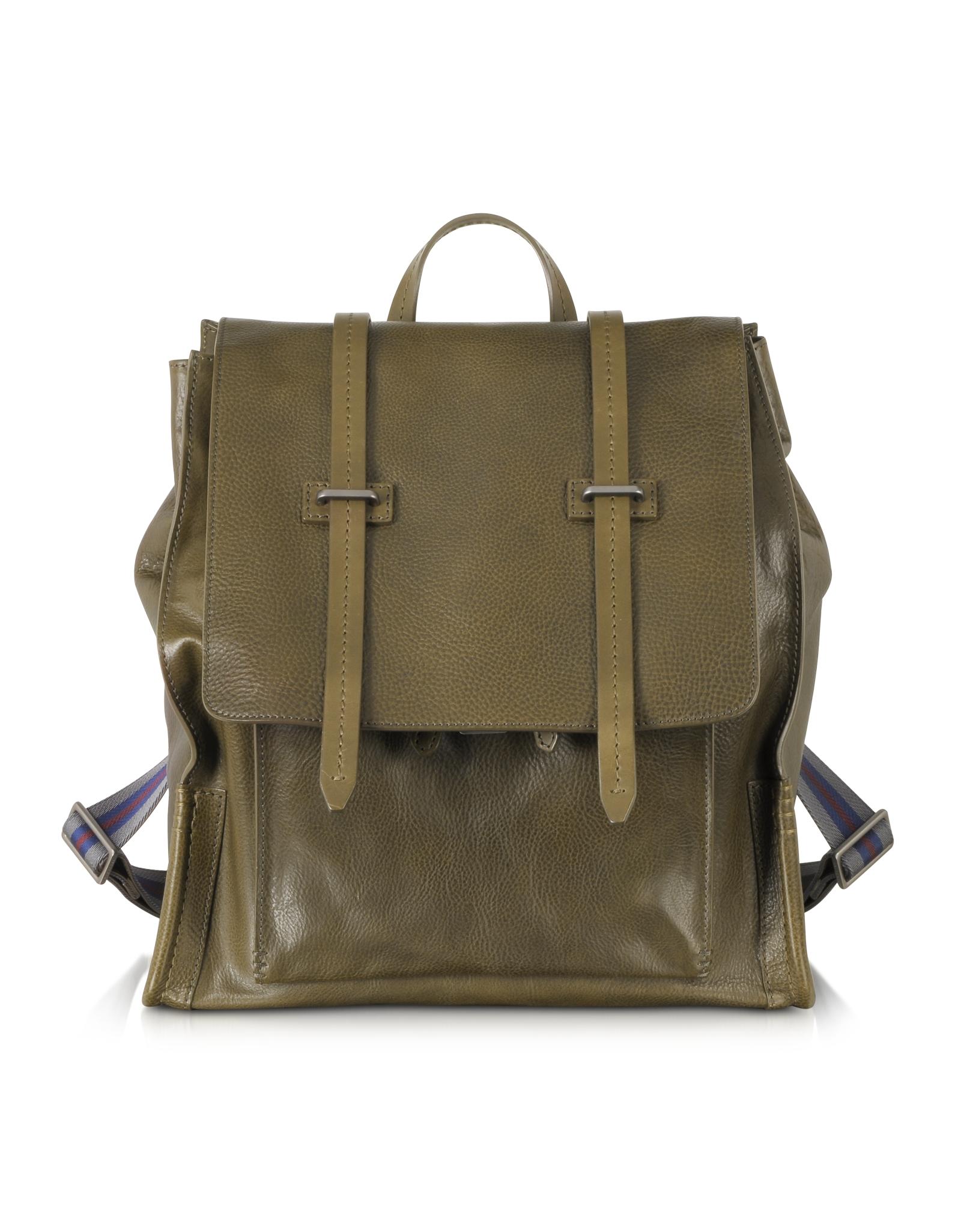 The Bridge Ascott Olive Green Leather Backpack In Green For Men Lyst