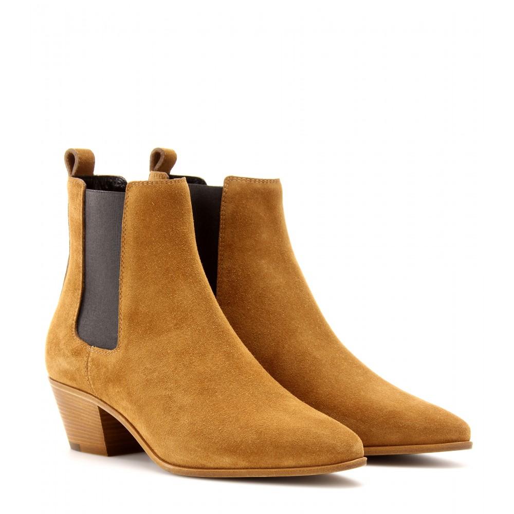 55dfcaee723d Saint Laurent Wyatt Suede Chelsea Boots in Brown - Lyst