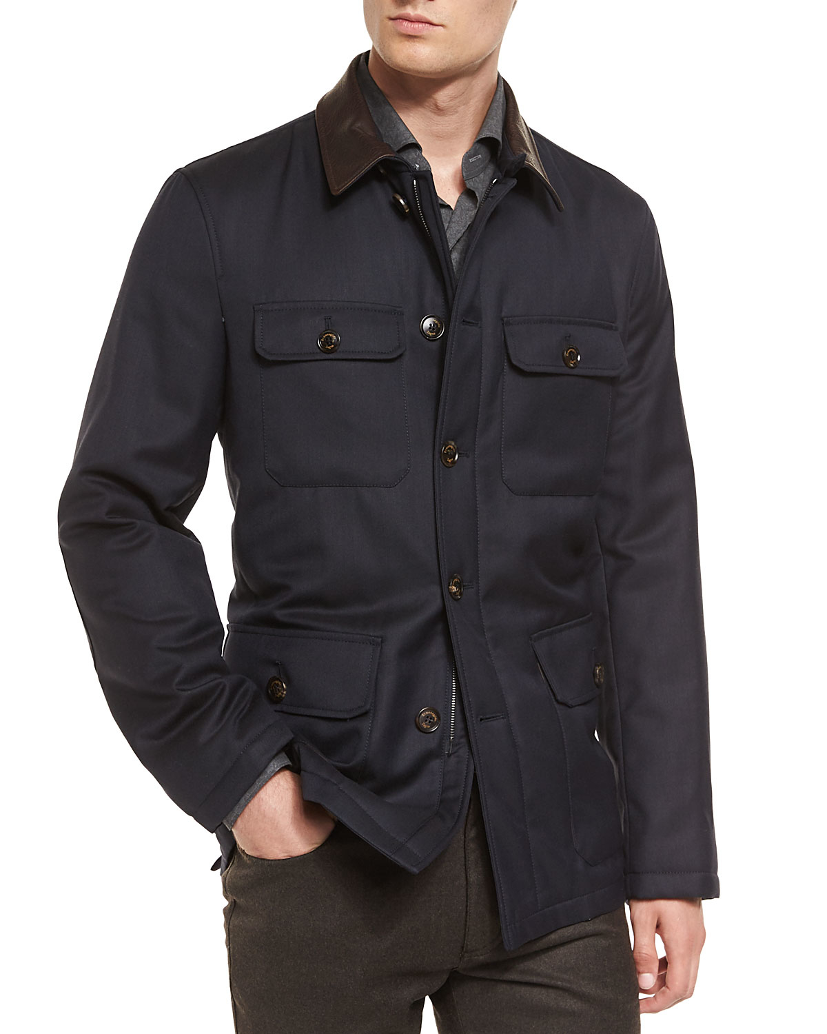 Cheap Abercrombie Fitch Clothing 09 New Abercrombie Mens Hoodies Best Abercrombie Fitch Clothing: Ermenegildo Zegna Wool Safari Jacket With Leather Collar