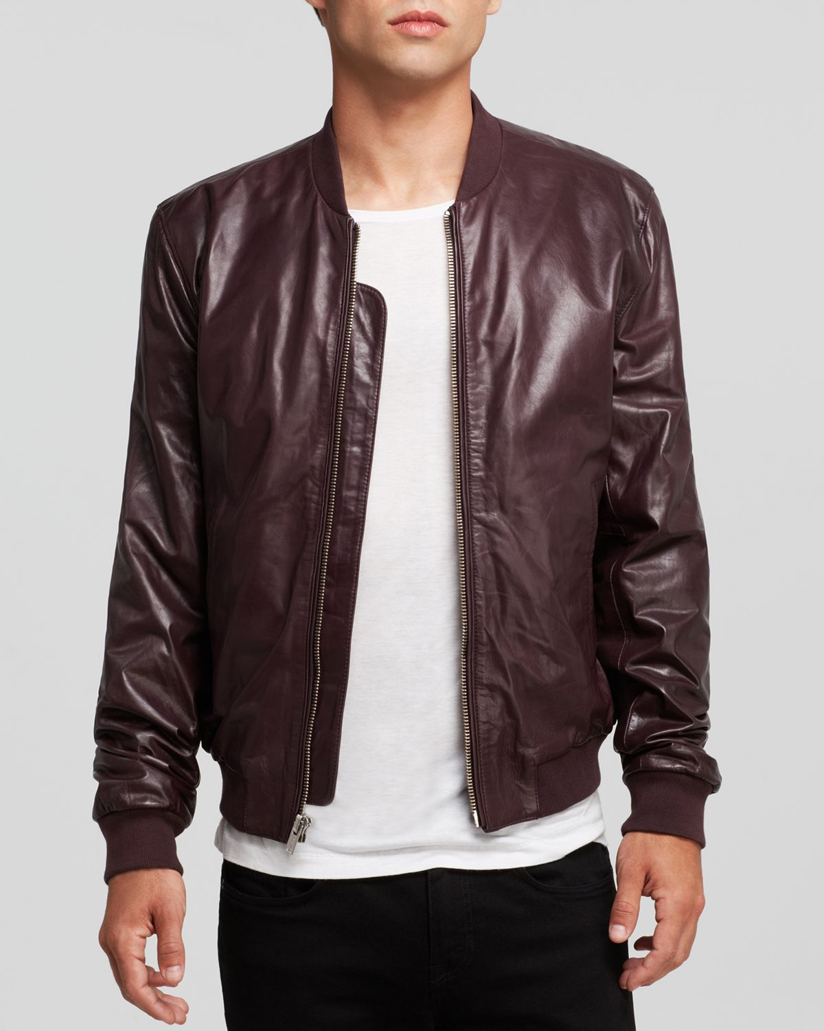 Blk dnm Leather Bomber Jacket in Red for Men | Lyst