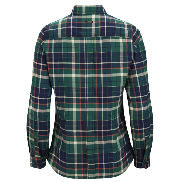 Barbour women 39 s iris checked shirt in green lyst for Womens green checked shirt