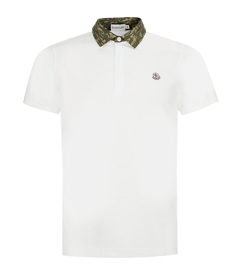 lyst moncler camouflage collar polo shirt in gray for men. Black Bedroom Furniture Sets. Home Design Ideas