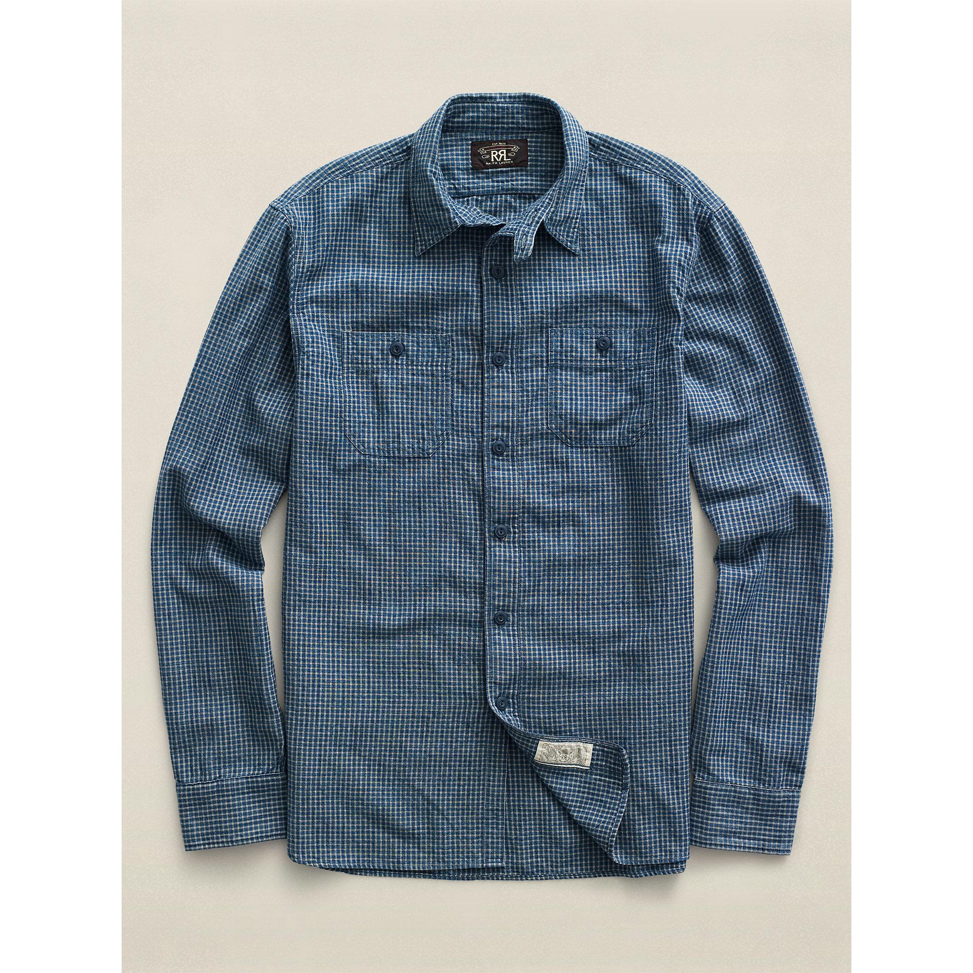 Rrl ideal indigo cotton workshirt in blue for men lyst for Blue cotton work shirts