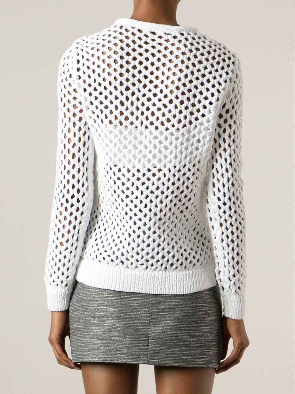 T by alexander wang Open-knit Sweater in White | Lyst