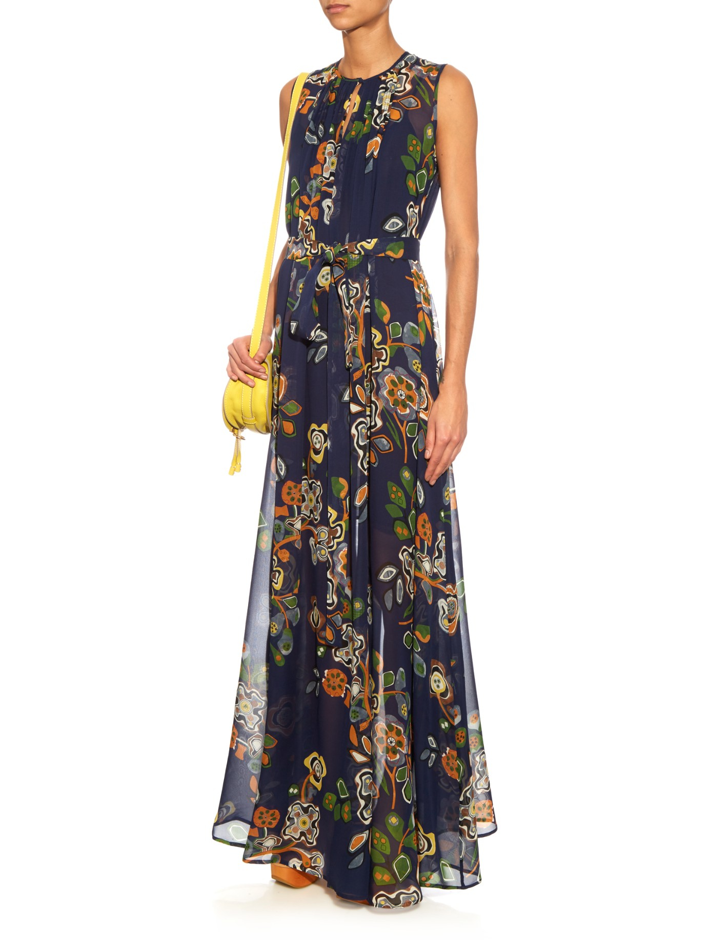 Msgm Abstract Floral Print Silk Georgette Maxi Dress In