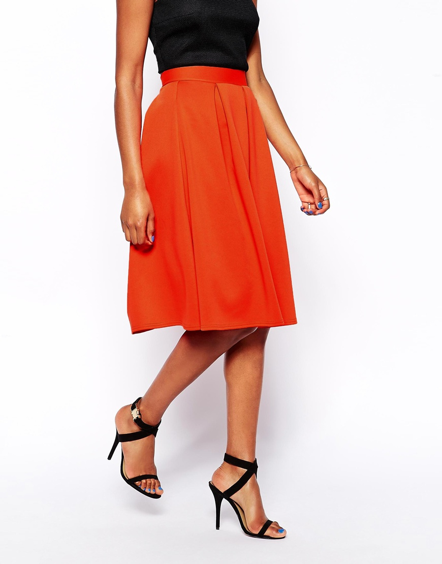 Oh my love Pleated Midi Skater Skirt in Orange | Lyst