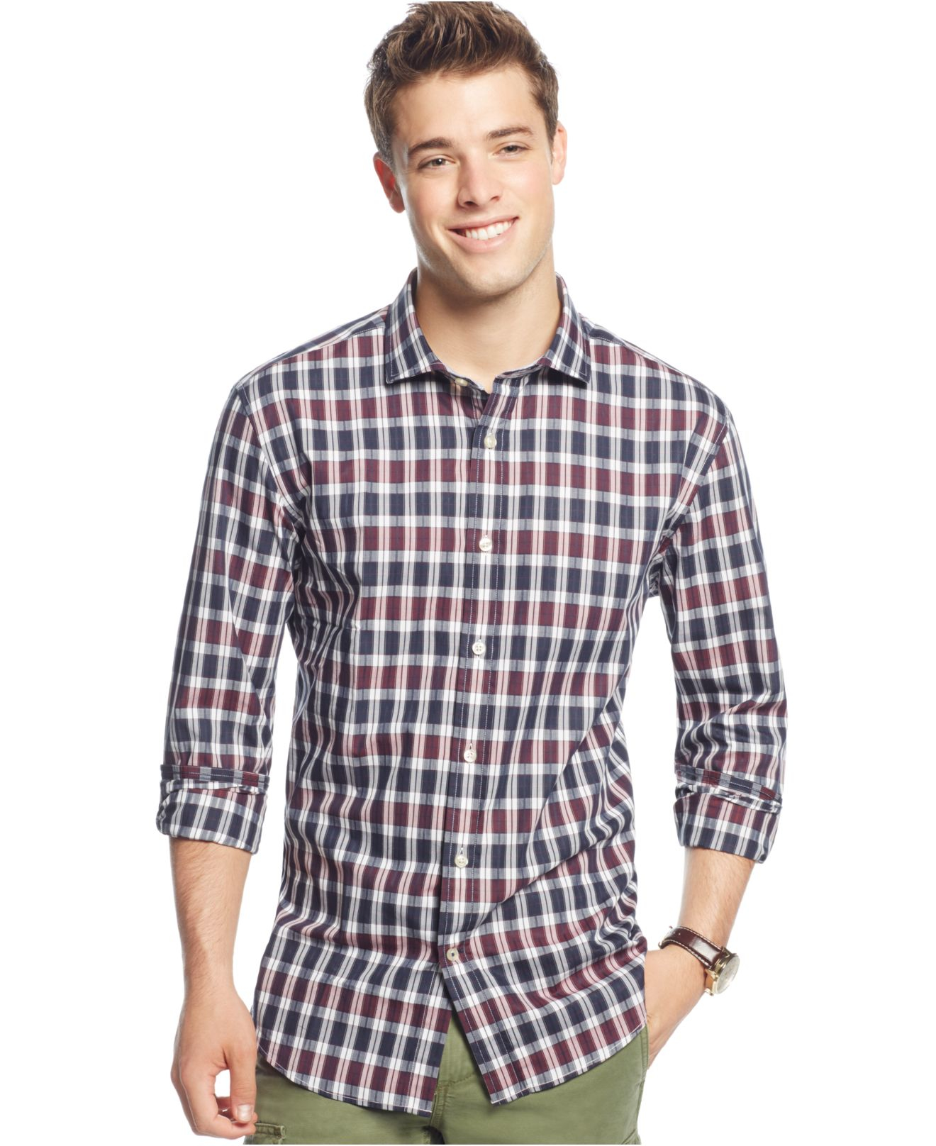 df33ffed Tommy Hilfiger Textured Booth Plaid Long-sleeve Button-down Shirt in ...