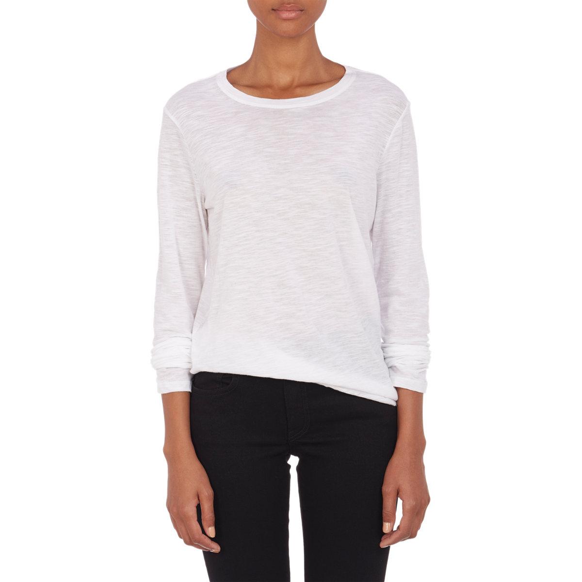 Proenza schouler slub knit t shirt in white lyst for What is a slub shirt