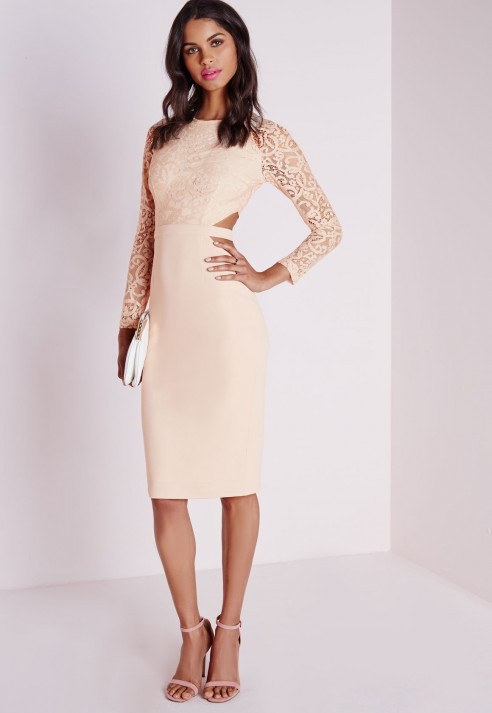 Lyst Missguided Clemenca Lace Long Sleeve Cut Out Midi Dress Nude