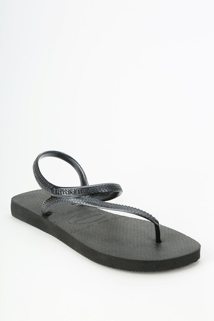 6b2bb52b2814 Lyst - Havaianas Flash Anklewrap Thong Sandal in Black