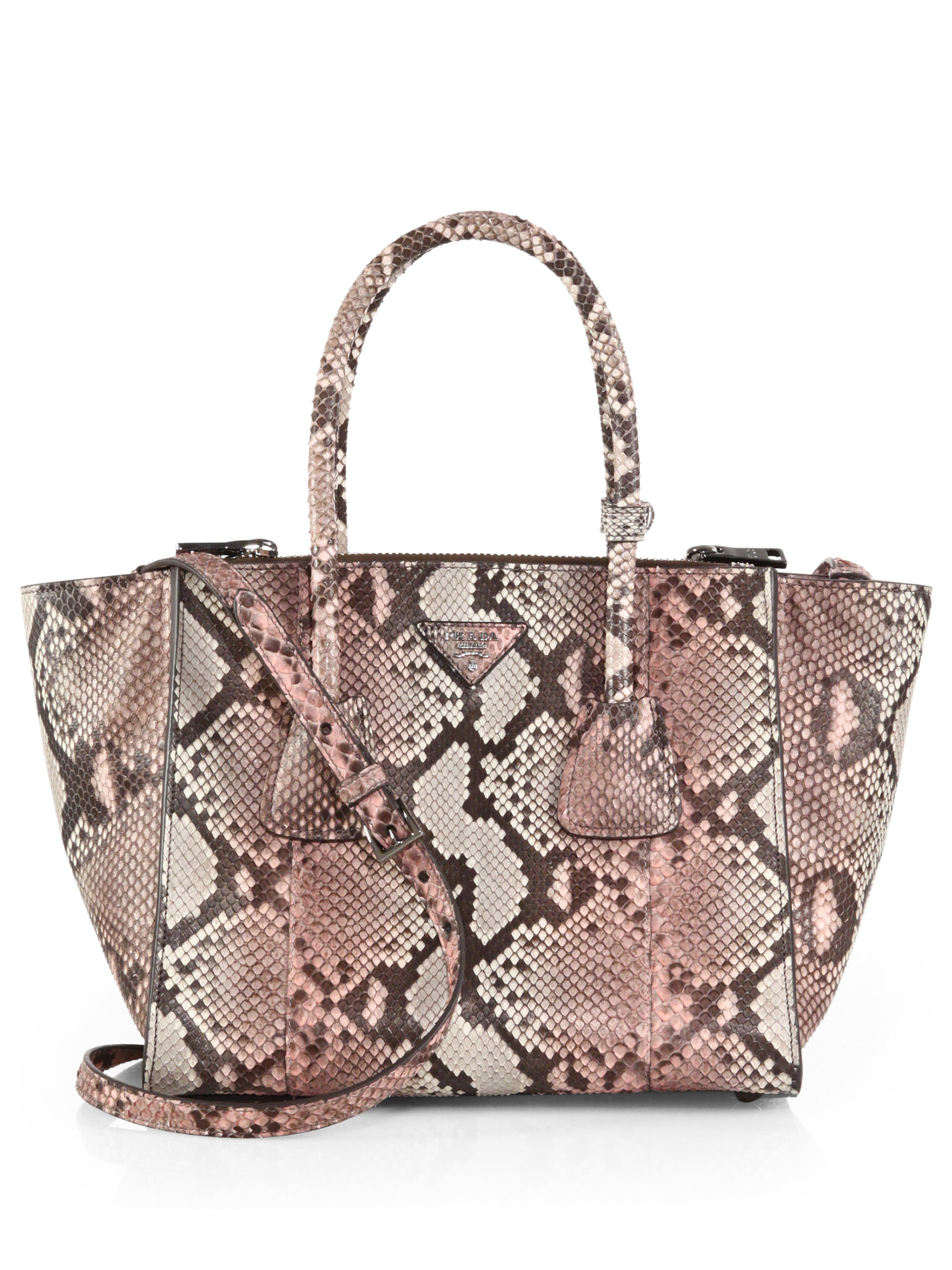 Prada Small Python Twin-pocket Tote in Pink (ROSA) | Lyst