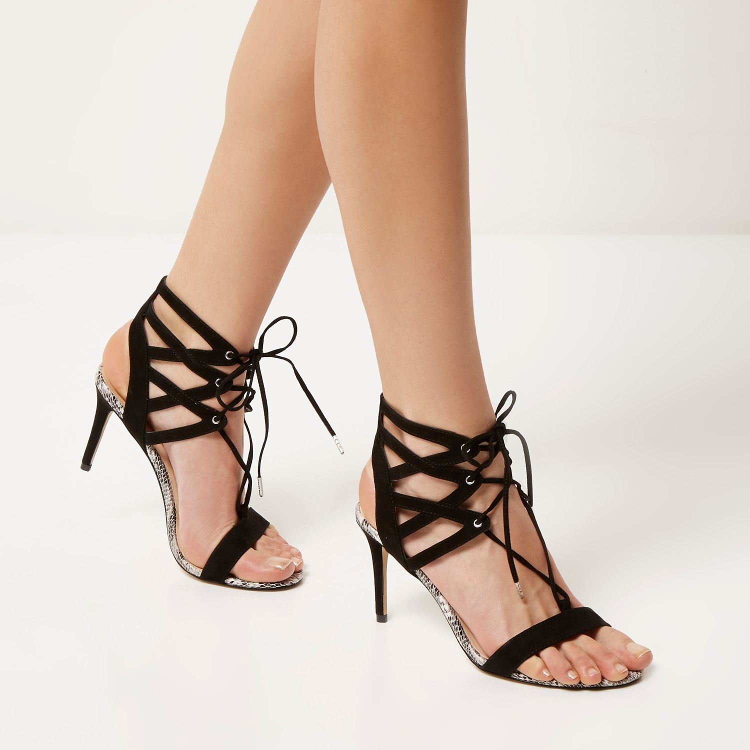 Lyst River Island Black Caged Heel Sandals In Black