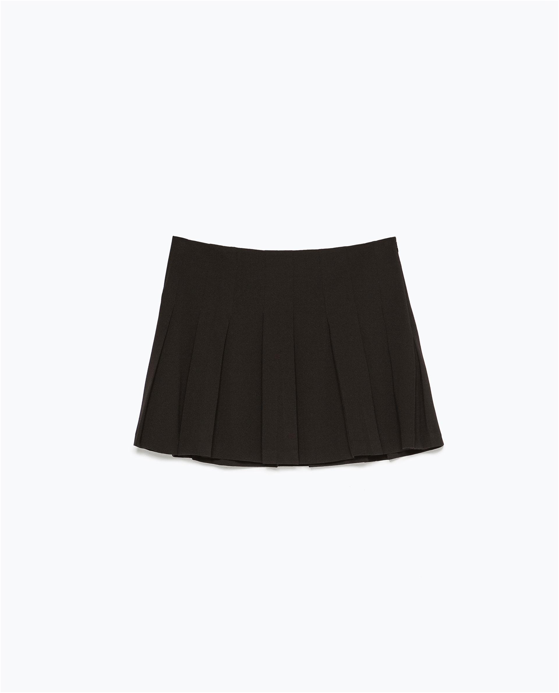 zara pleated mini skirt pleated mini skirt in black lyst