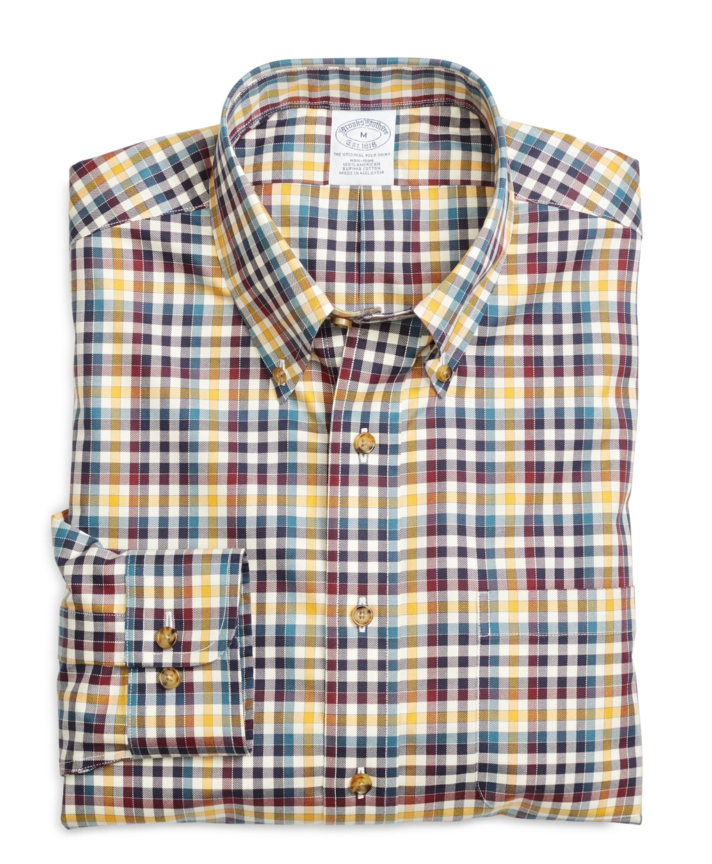 Brooks brothers non iron regular fit check sport shirt in Brooks brothers shirt size guide