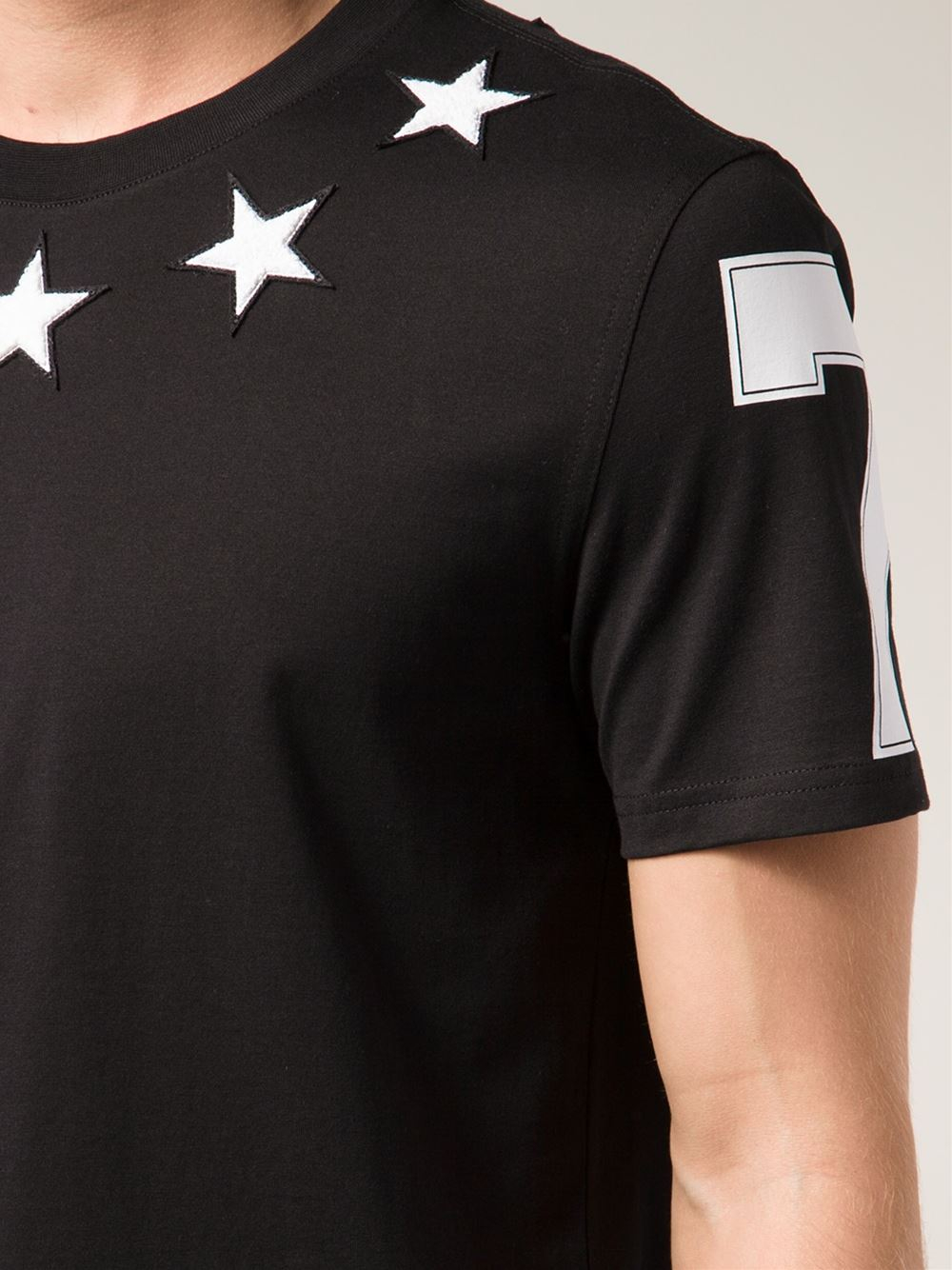 Lyst givenchy terry cloth star t shirt in black for men for Givenchy 5 star shirt