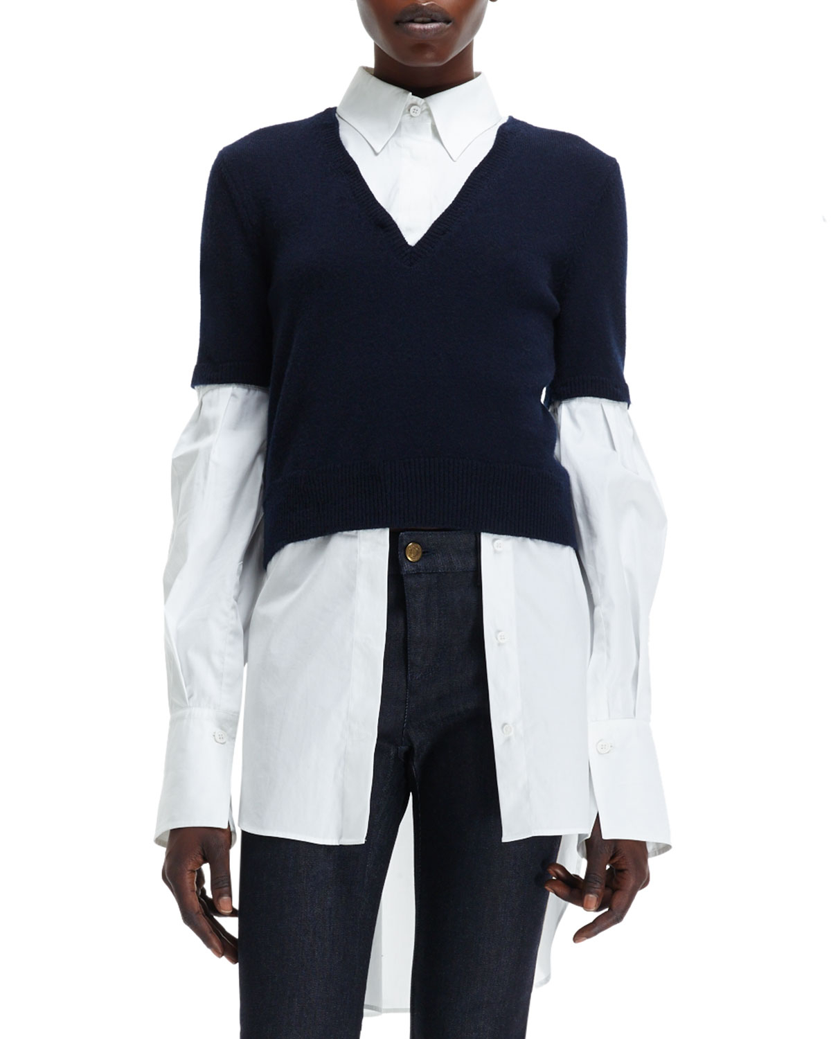 Lyst Alexander Mcqueen Knit Sweater Over Woven Blouse Combo Top In