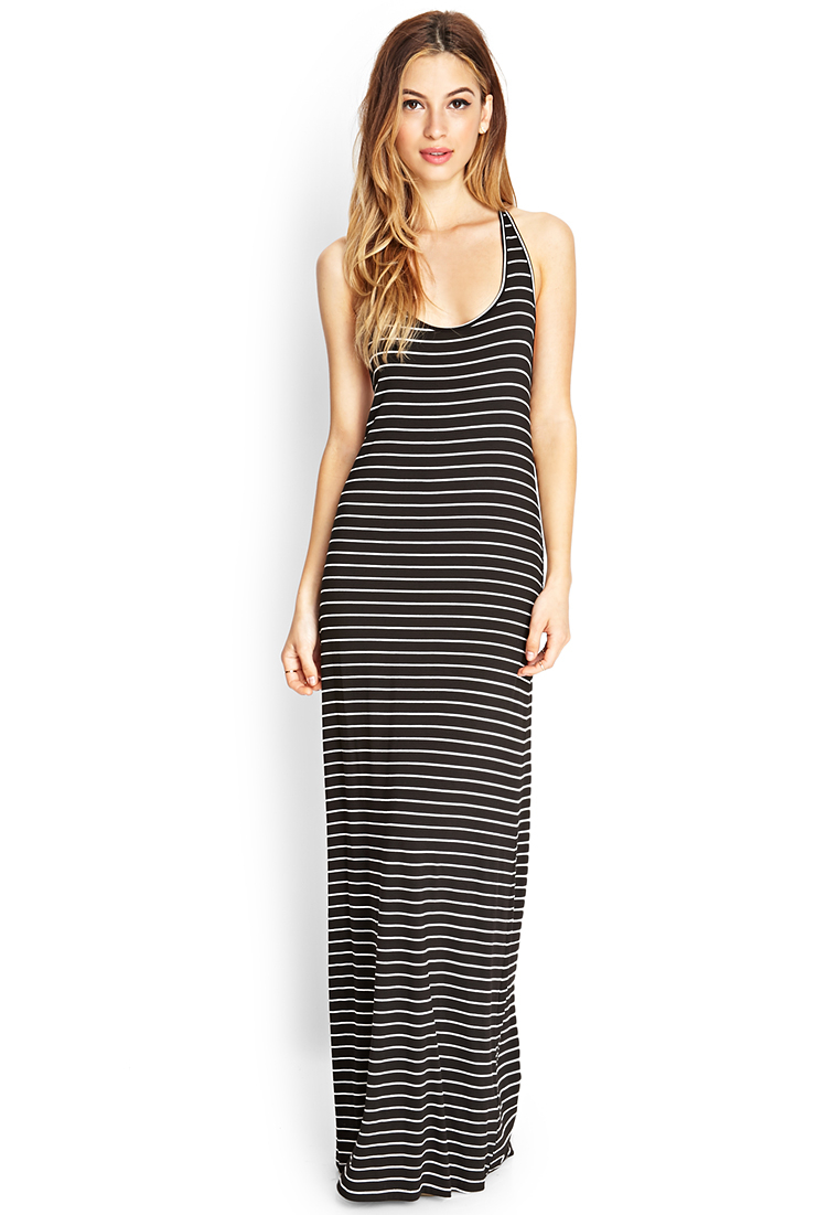 lyst forever 21 striped tback maxi dress in black