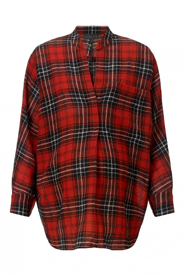 Hatch Button Down Checked Wool Shirt In Red Lyst