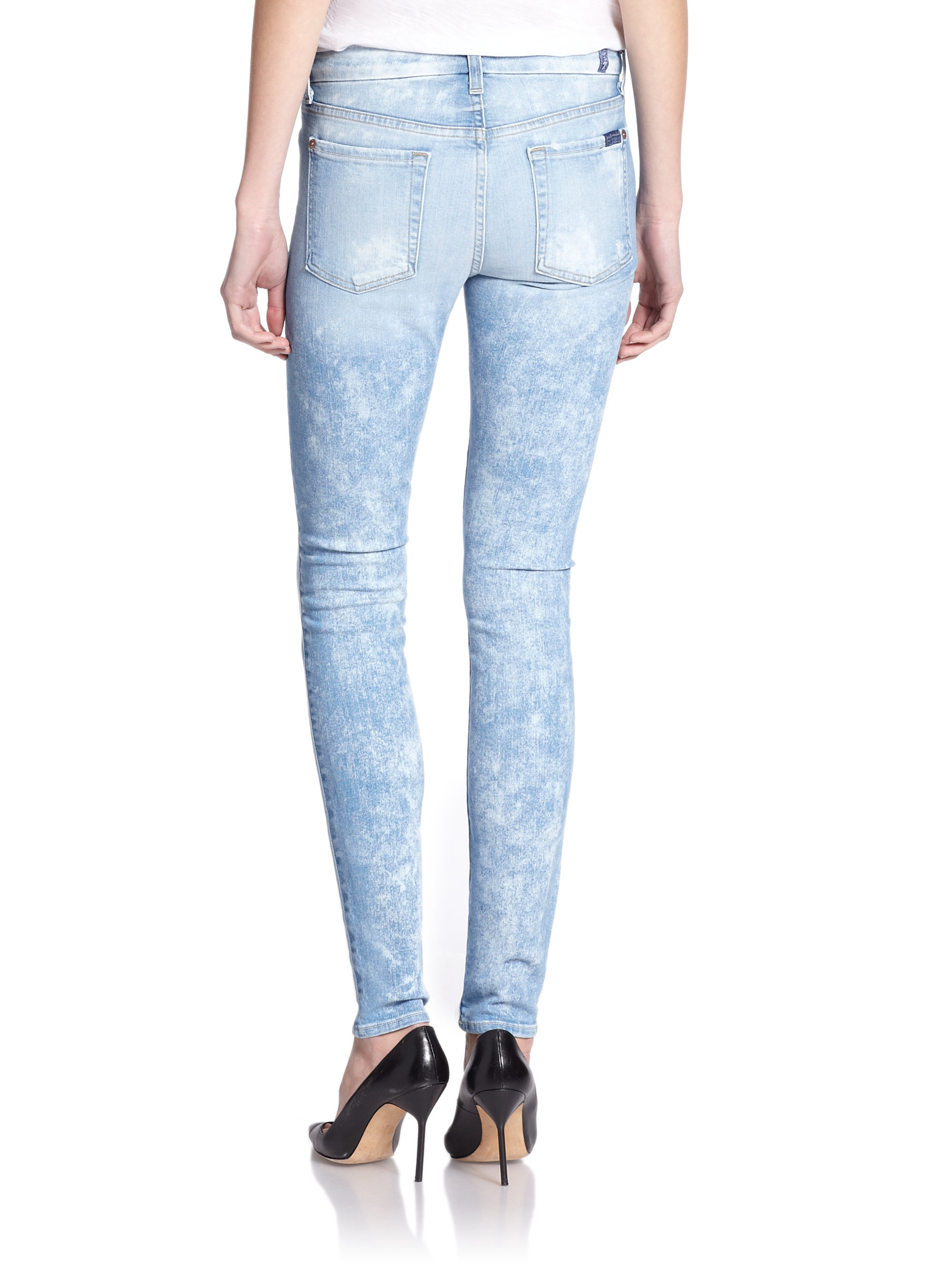 lyst 7 for all mankind distressed skinny jeans in blue. Black Bedroom Furniture Sets. Home Design Ideas