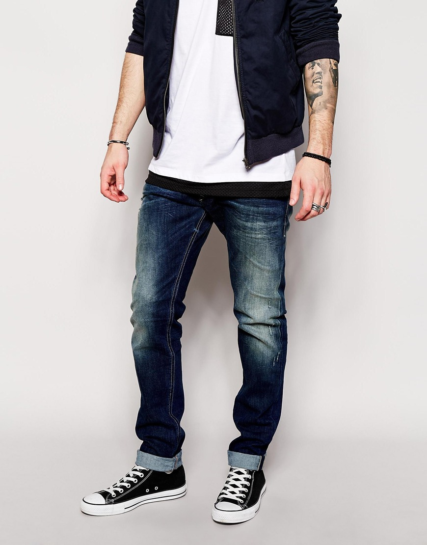 207f8aeb DIESEL Jeans Tepphar 833f Skinny Fit Mid Distressed Wash in Blue for ...