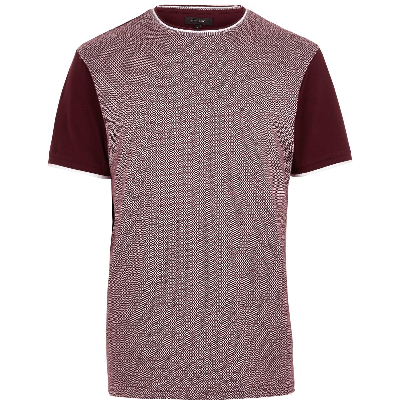 880c056479ea Lyst - River Island Dark Red Diamond Short Sleeve T-shirt in Purple for Men