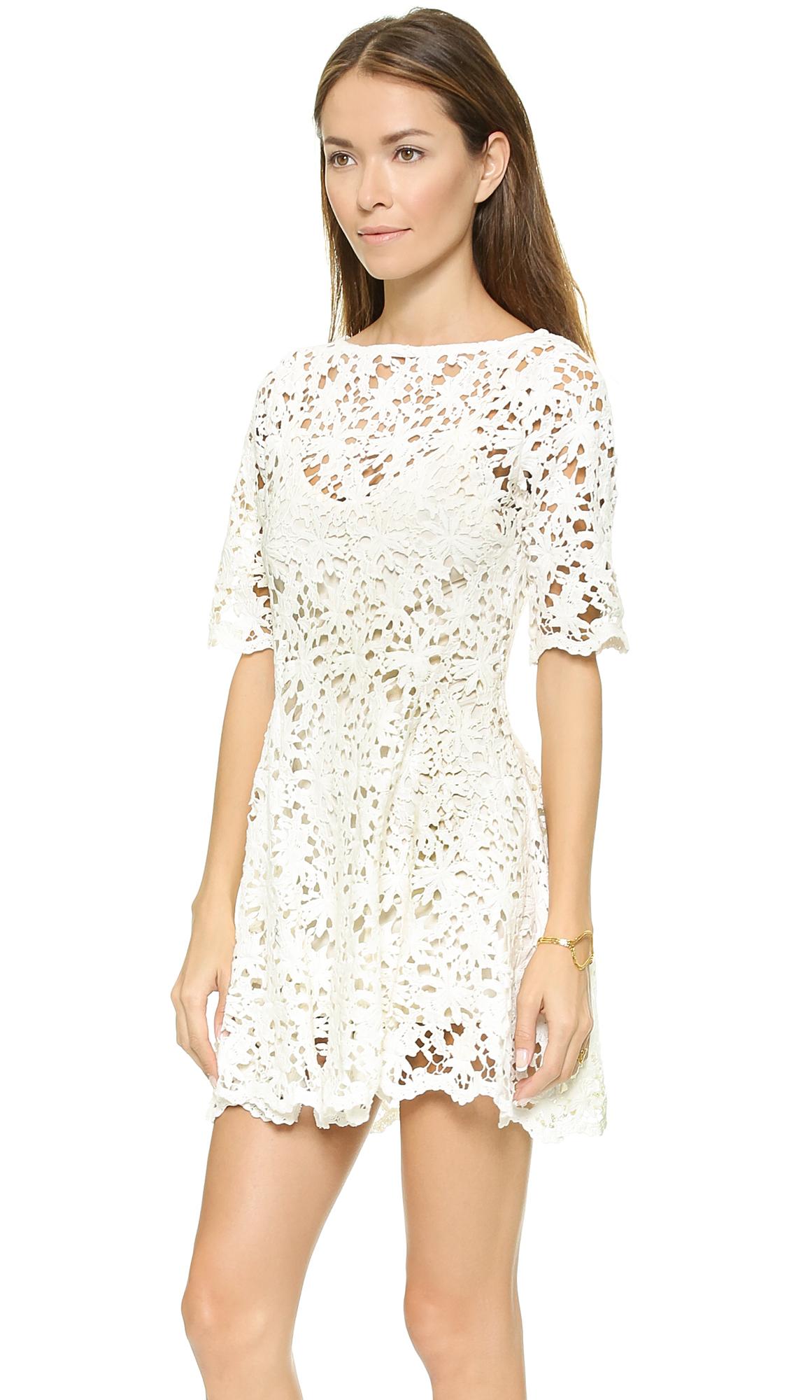 Nightcap Daisy Crochet Fit Amp Flare Dress White In White