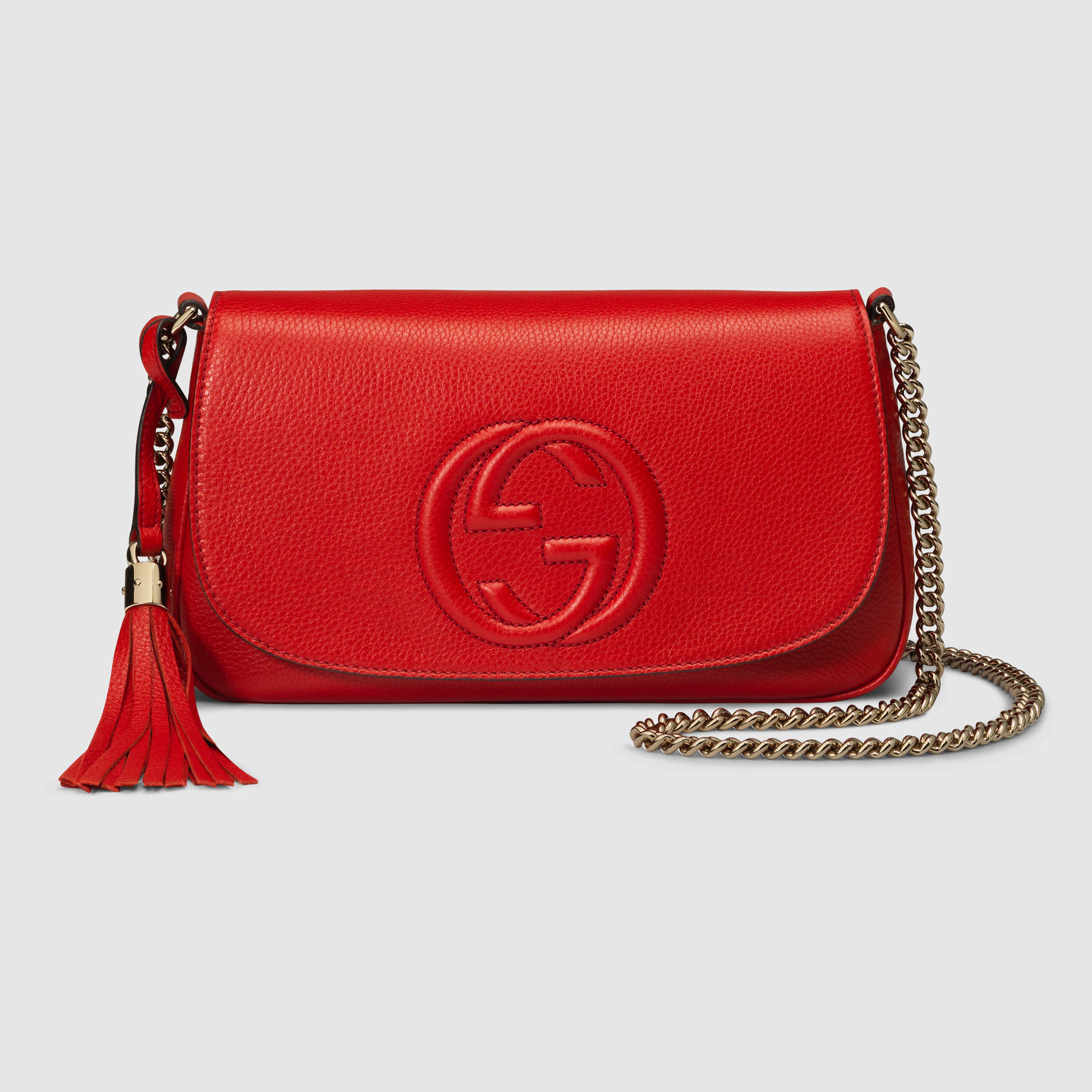 Lyst - Gucci Soho Leather Shoulder Bag in Red