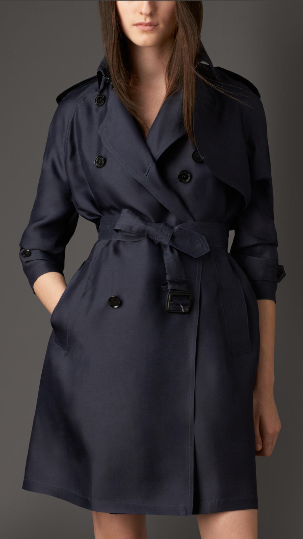 Burberry Väska 2014 : Burberry long showerproof silk trench coat in blue lyst
