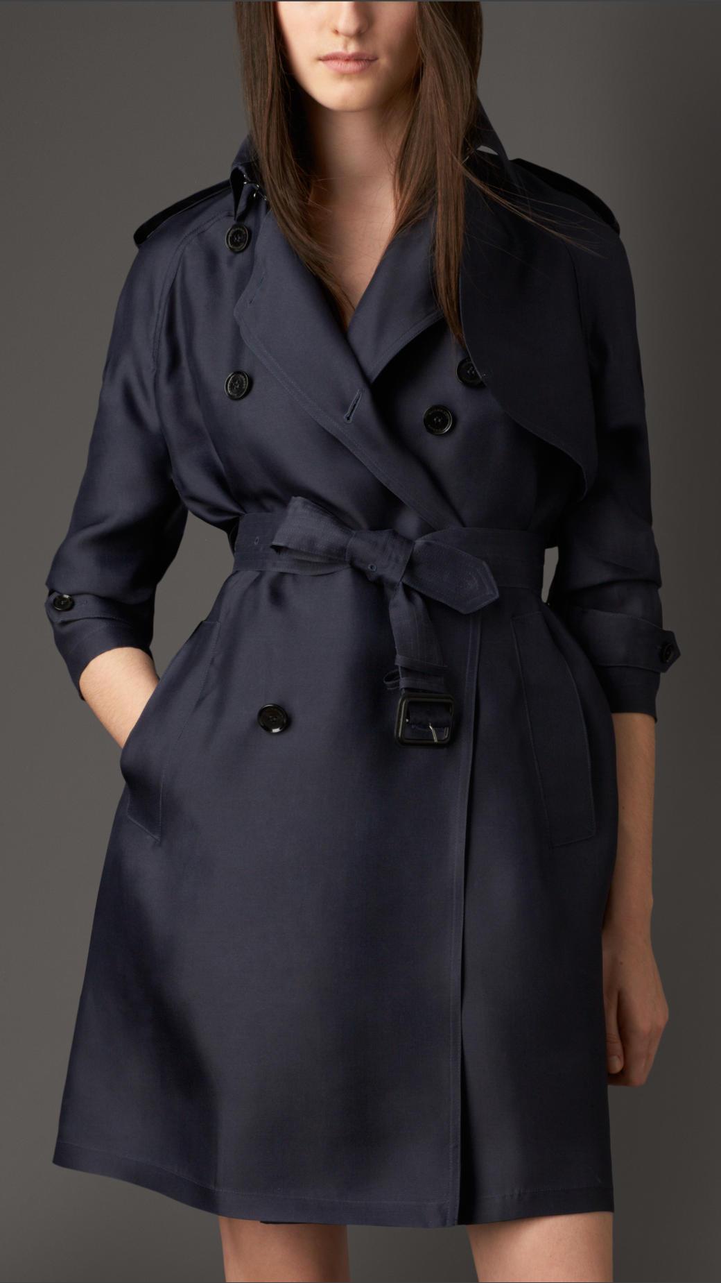 Burberry Long Showerproof Silk Trench Coat in Blue