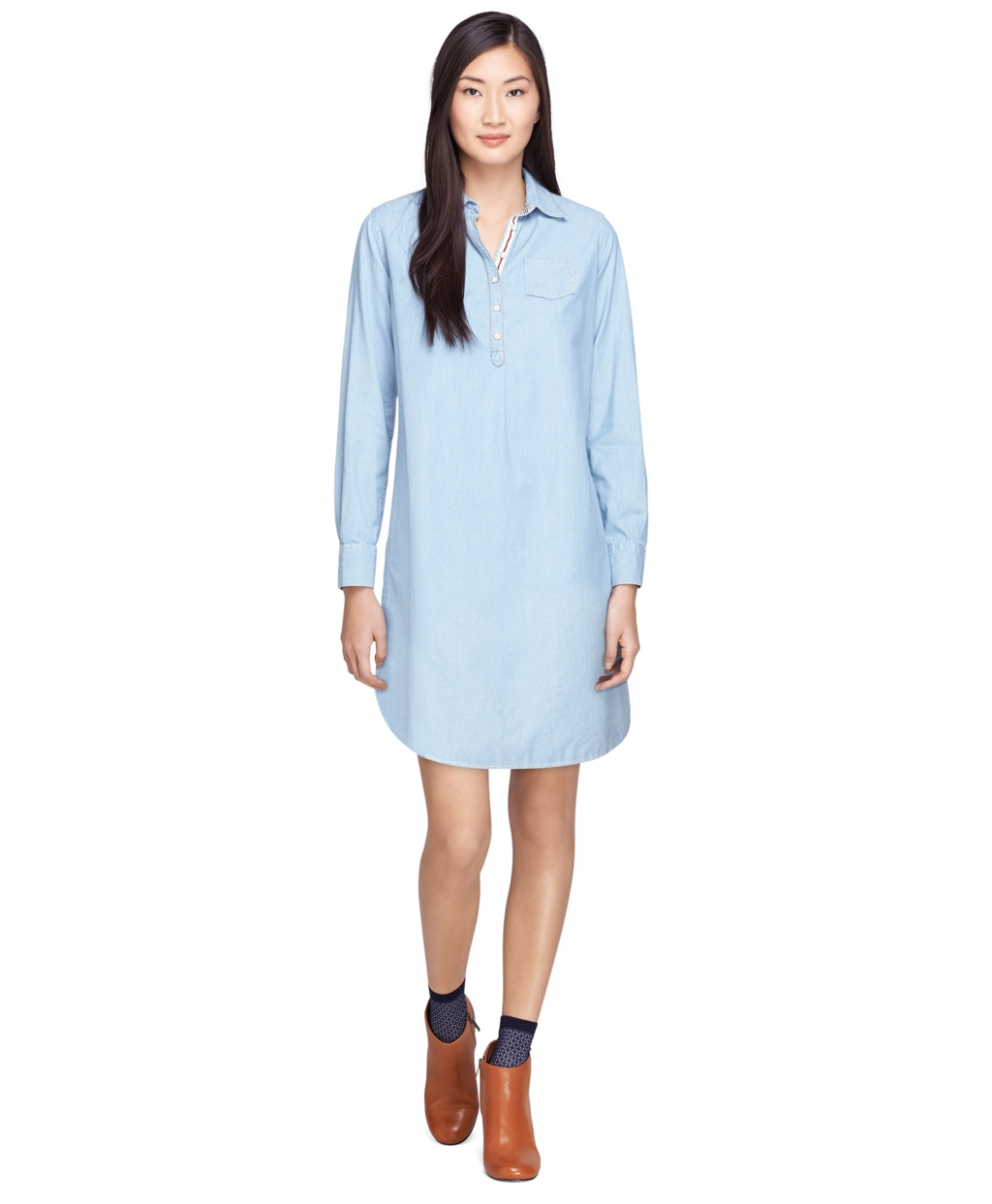 Lyst brooks brothers long sleeve chambray dress in blue for Chambray dress