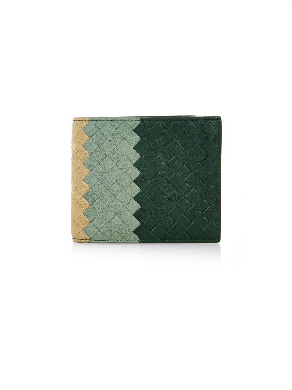 bf349716c4 Bottega Veneta Intrecciato Club Fumé Leather Wallet in Green for Men ...