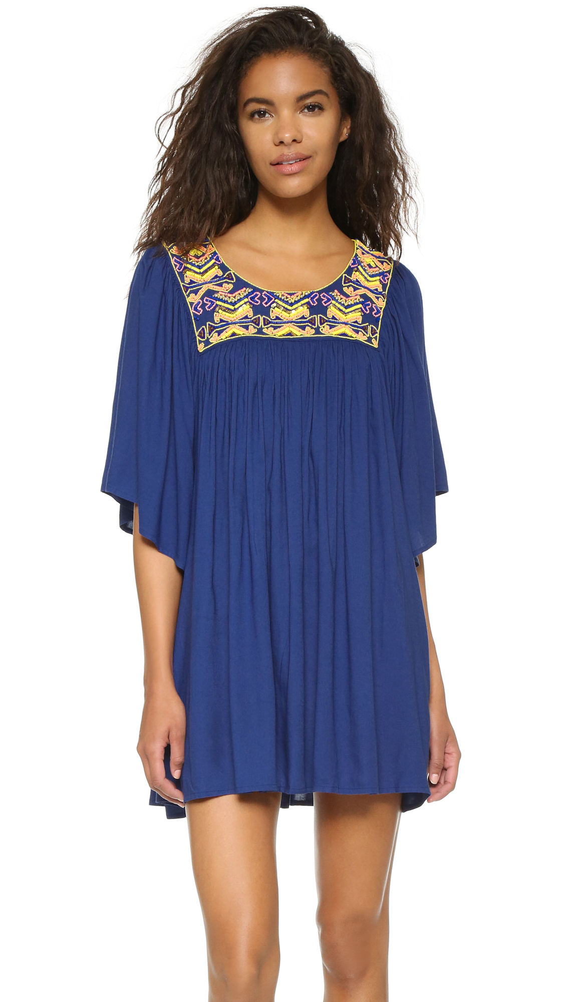Lyst pia pauro embroidered beach dress in blue