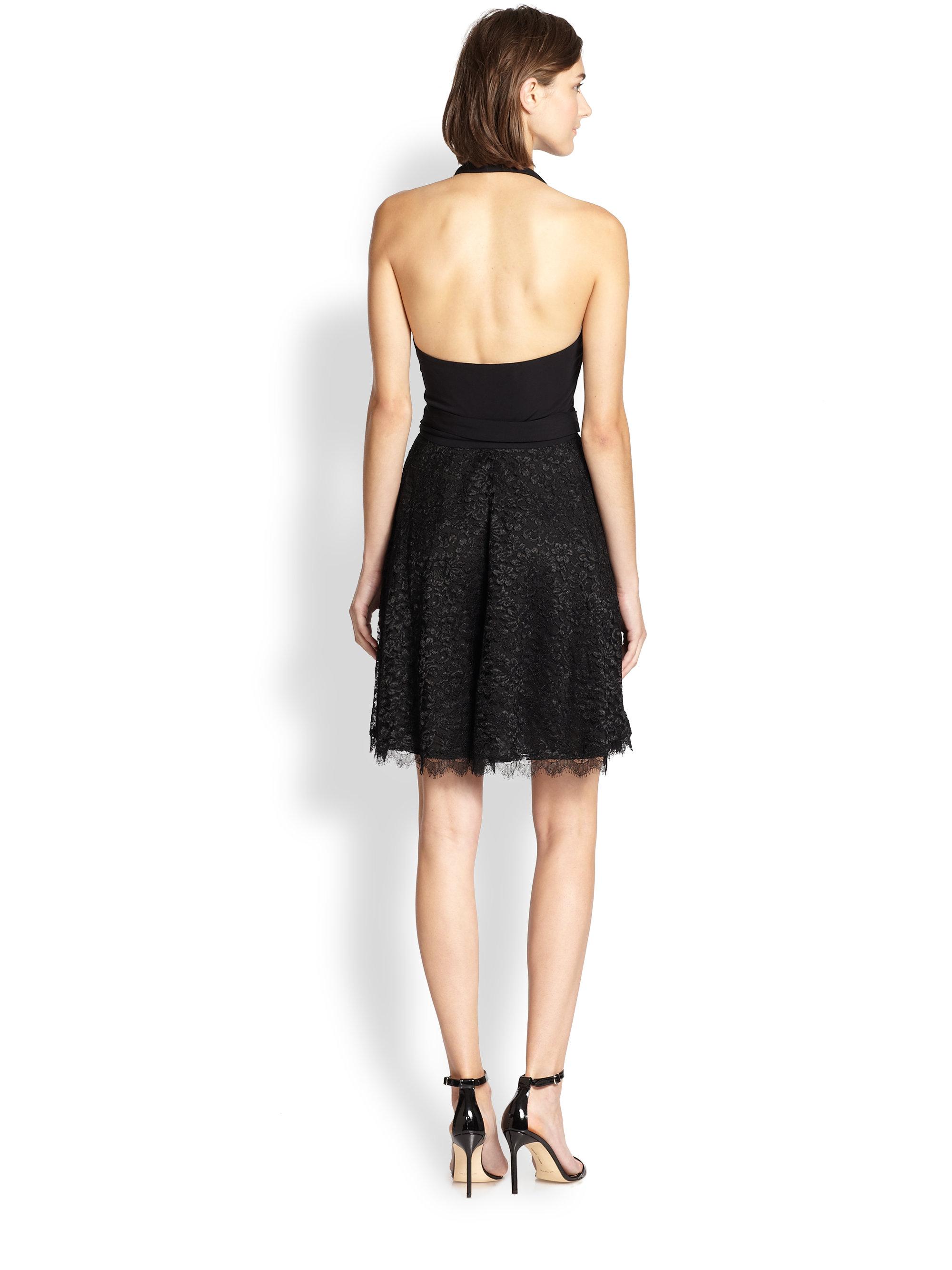Diane Von Furstenberg Amelia Lace Halter Dress In Black Lyst