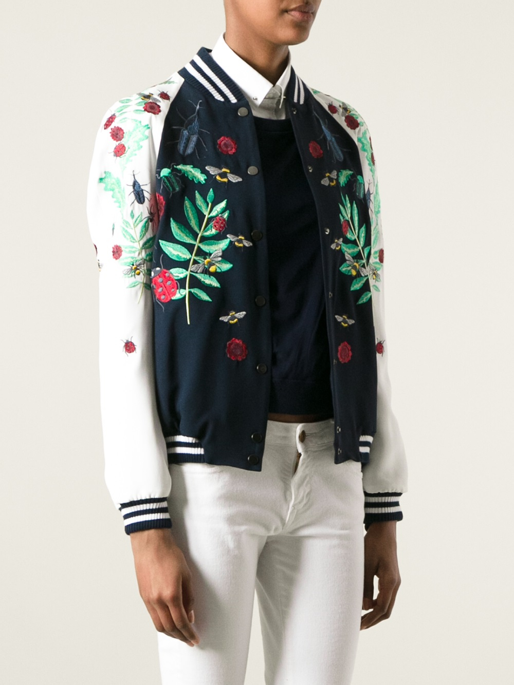 Façonnable embroidered bomber jacket in blue lyst
