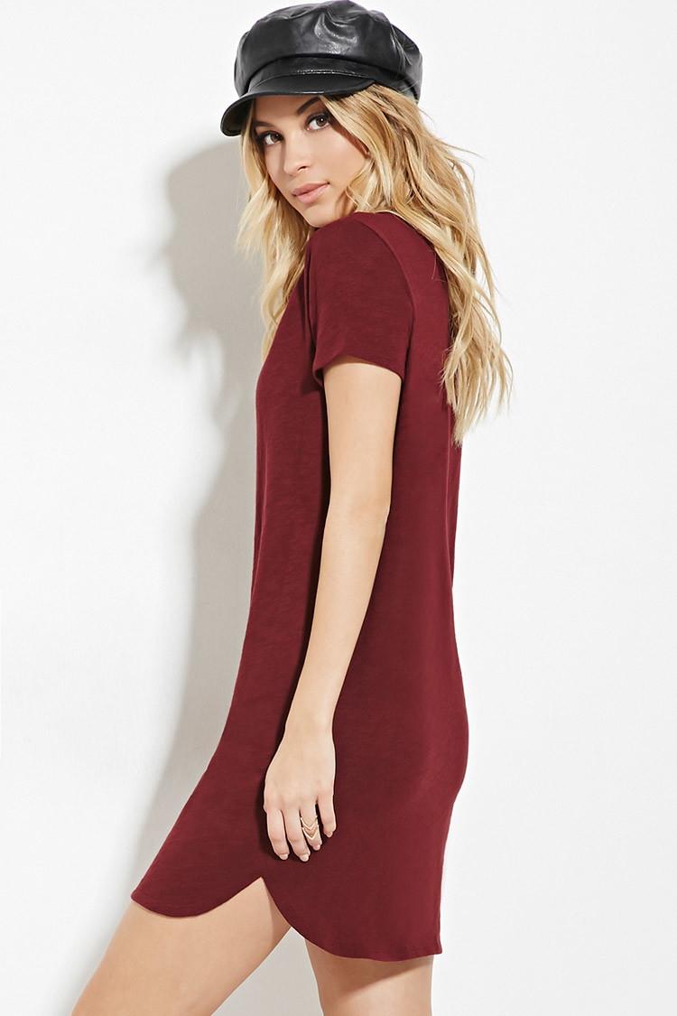 ca19773935 Lyst - Forever 21 Slub Knit T-shirt Dress in Purple