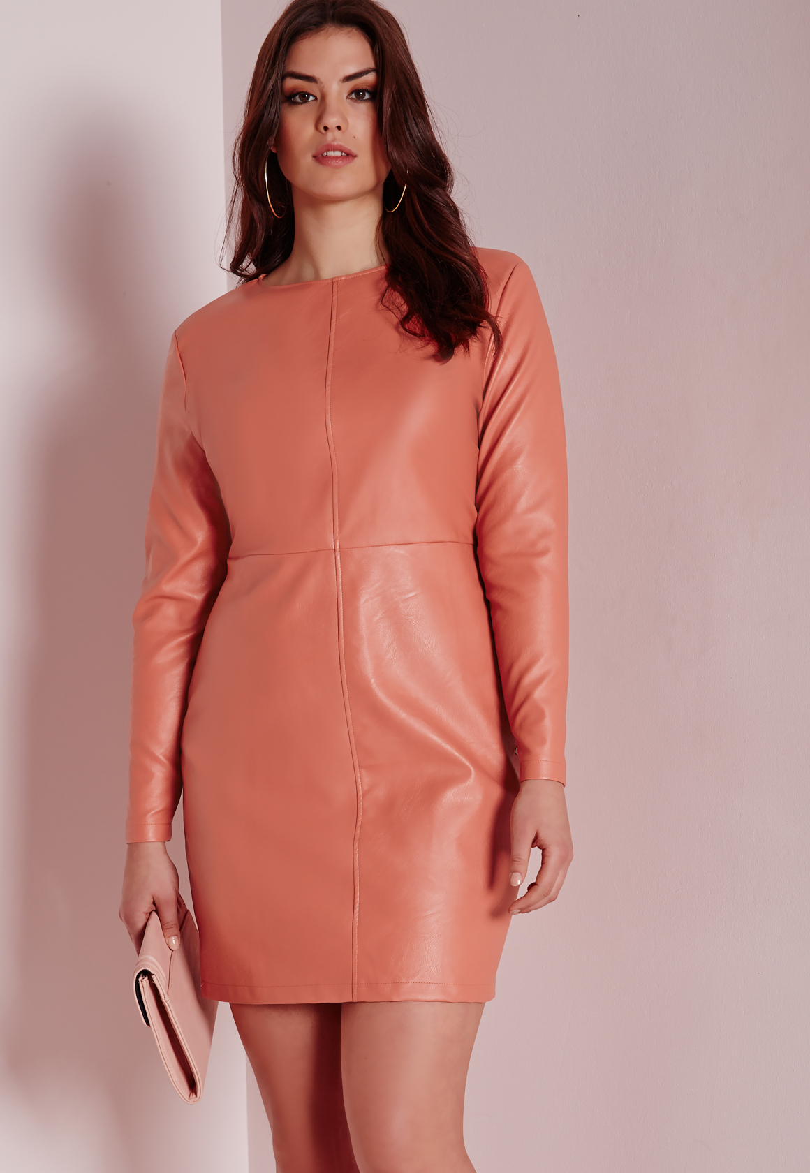 Lyst - Missguided Plus Size Faux Leather Dress Pink In Pink