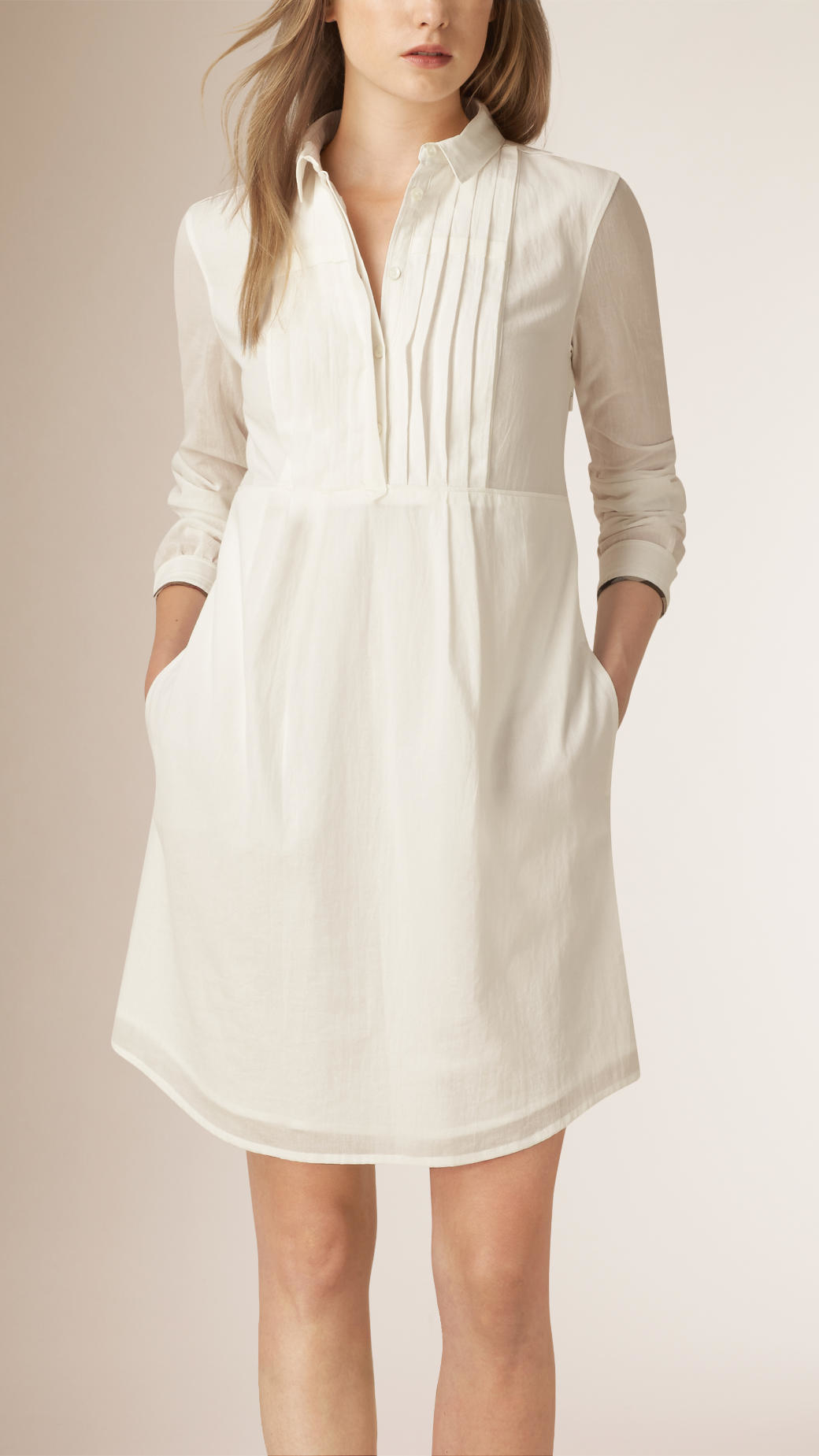 8a46cfb8bc0a Lyst - Burberry Pleat Detail Cotton Shirt Dress in White