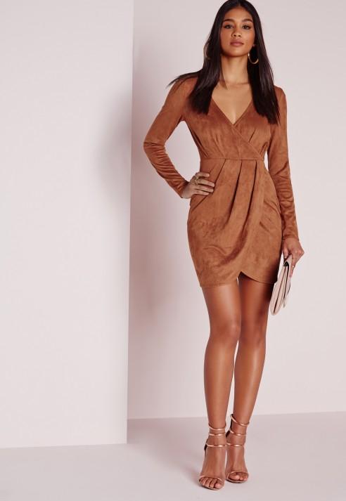 13af70ecc75f Lyst - Missguided Faux Suede Long Sleeve Wrap Dress Brown in Brown