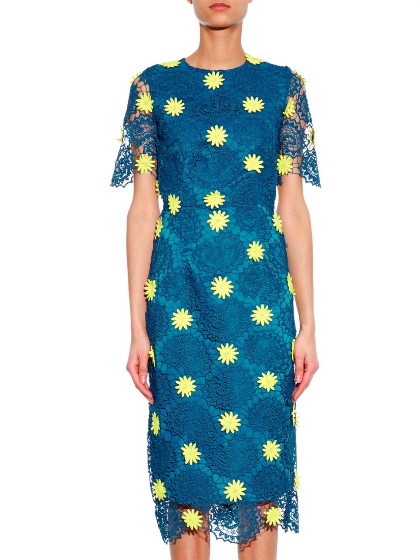 House of holland emily embroidered lace midi dress in blue