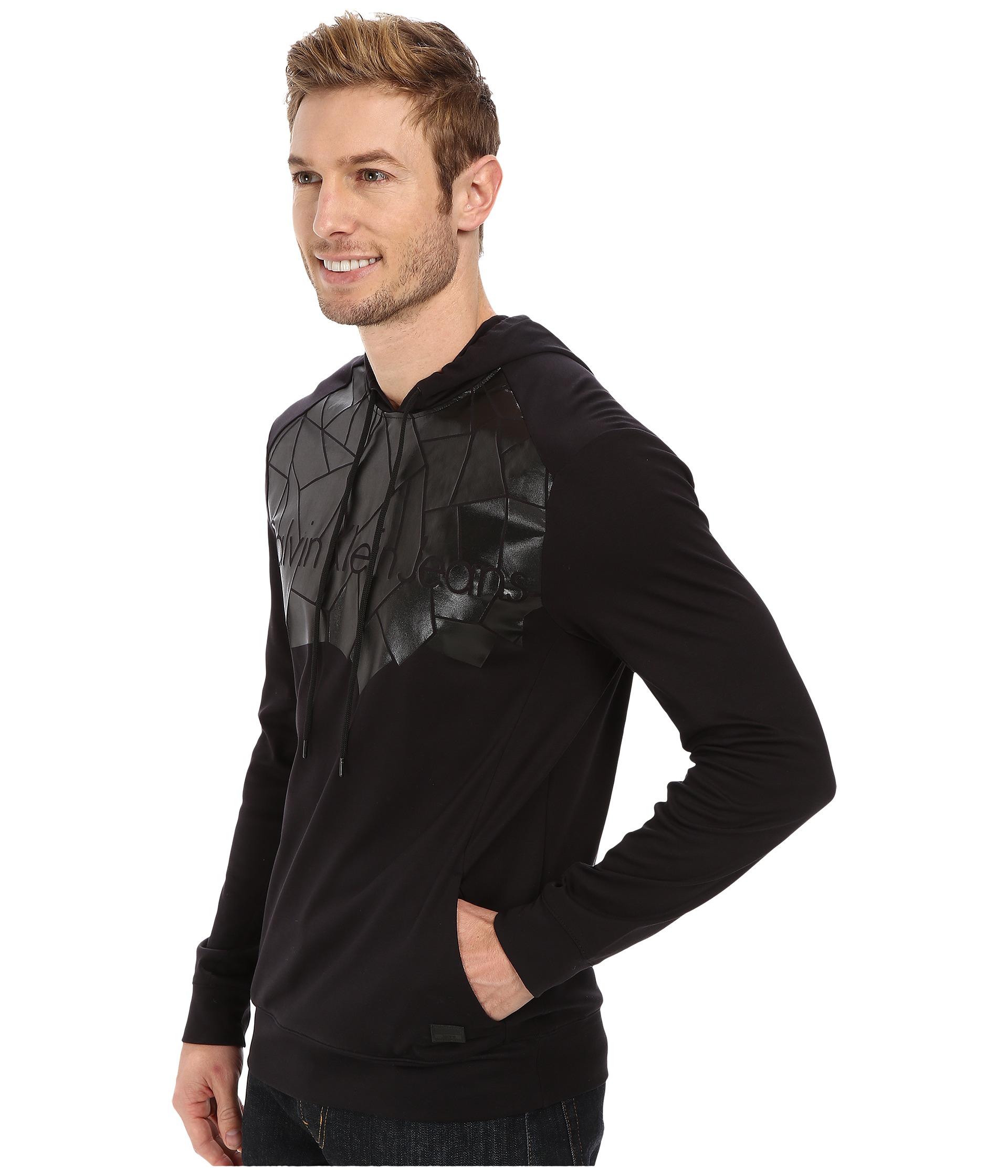 calvin klein jeans interlock logo hoodie in black black 050000 lyst. Black Bedroom Furniture Sets. Home Design Ideas