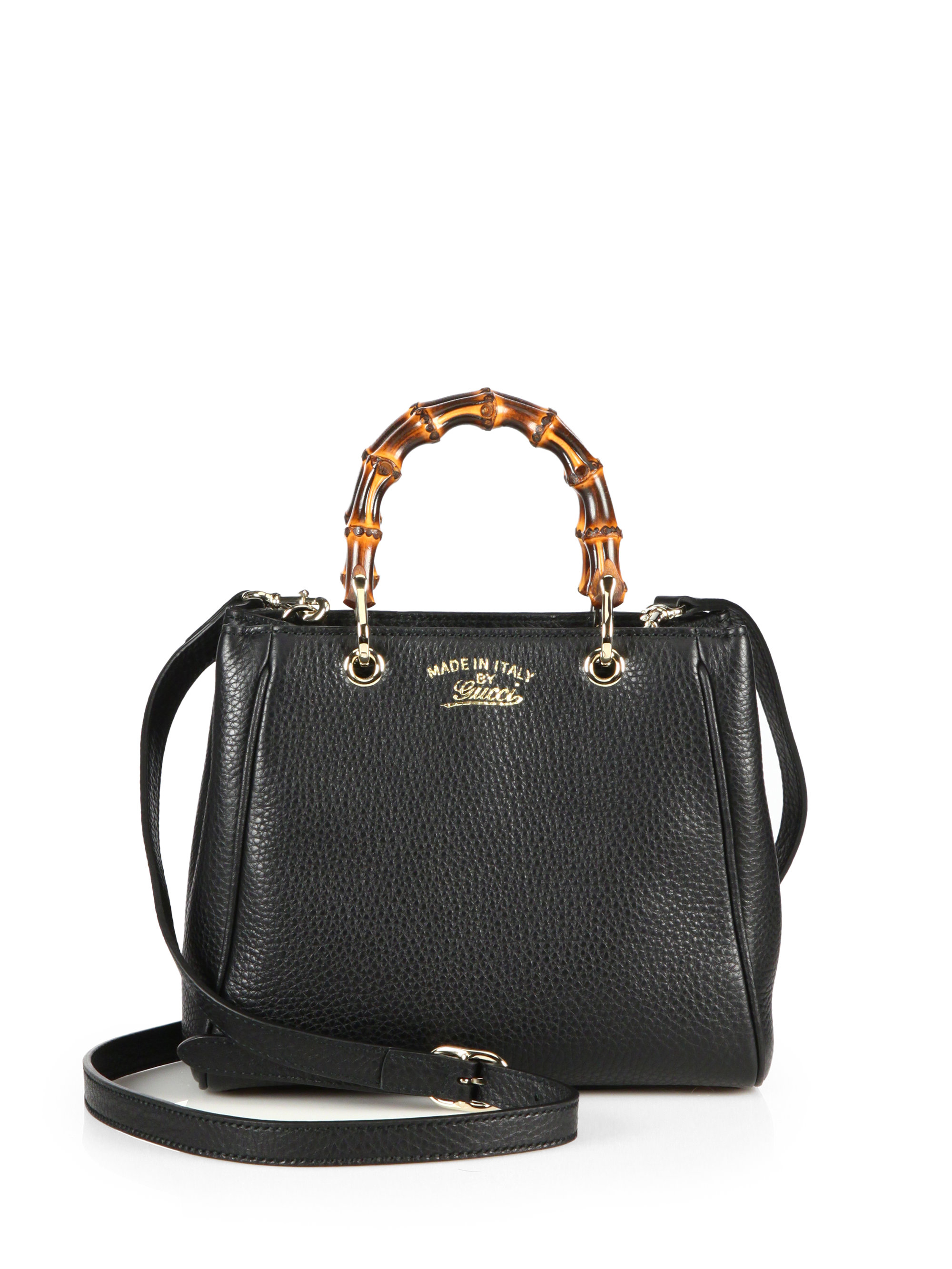 cfd9d035c Gucci Bamboo Shopper Mini Bag. Gucci Bamboo Shopper Mini Leather Top Handle  Bag in Black | Lyst