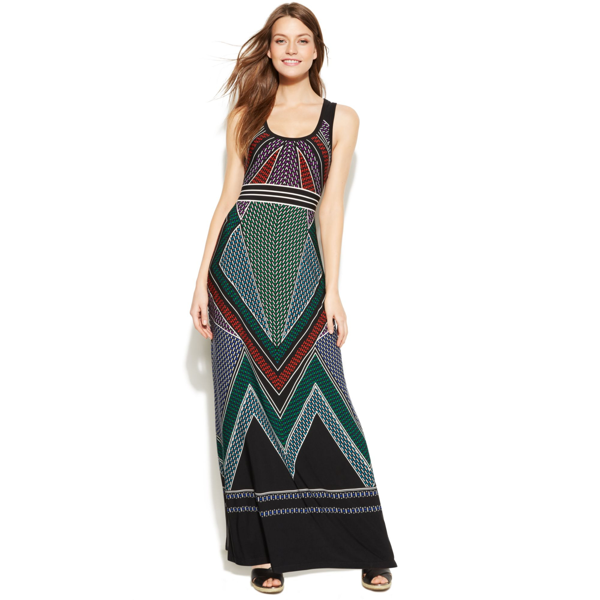 Calvin klein Sleeveless Tribal Print Maxi Dress | Lyst