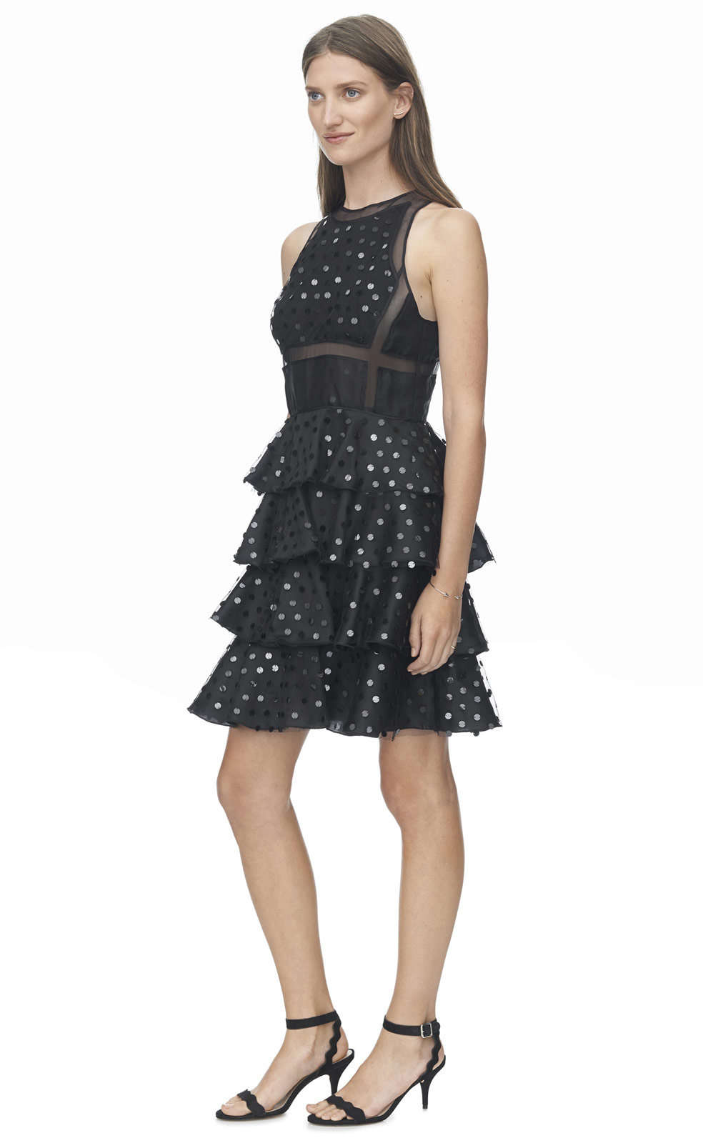 Rebecca taylor Dot Sequin Dress in Black | Lyst