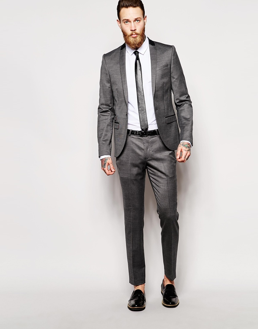 Noose and monkey Grey Suit Jacket In Skinny Fit in Gray for Men | Lyst