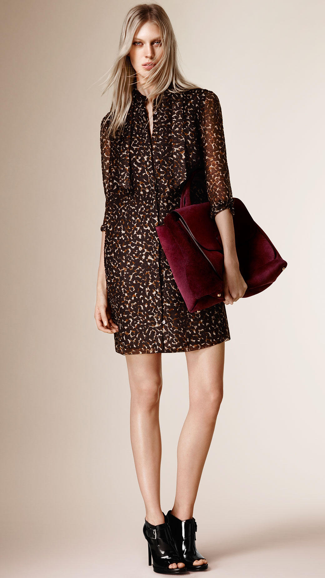 Lyst Burberry Animal Print Silk Blend Shirt Dress In Brown