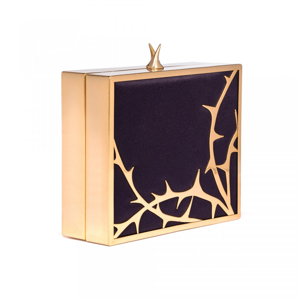 Lulu guinness Bed Of Roses Thorn Chloe Clutch in Gold | Lyst