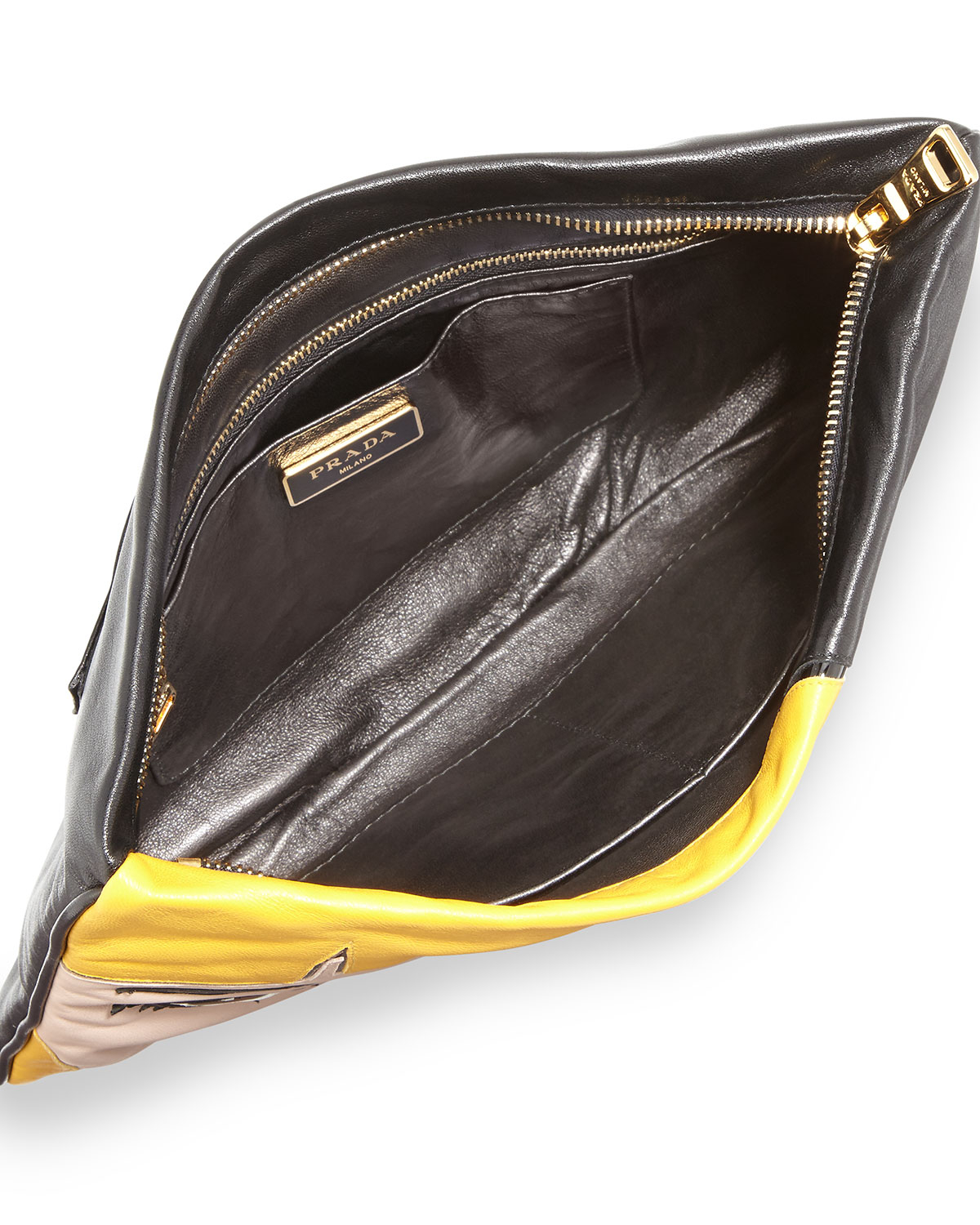Prada Napa Zip Girl Clutch Bag in Yellow (BLACK(NERO)) | Lyst