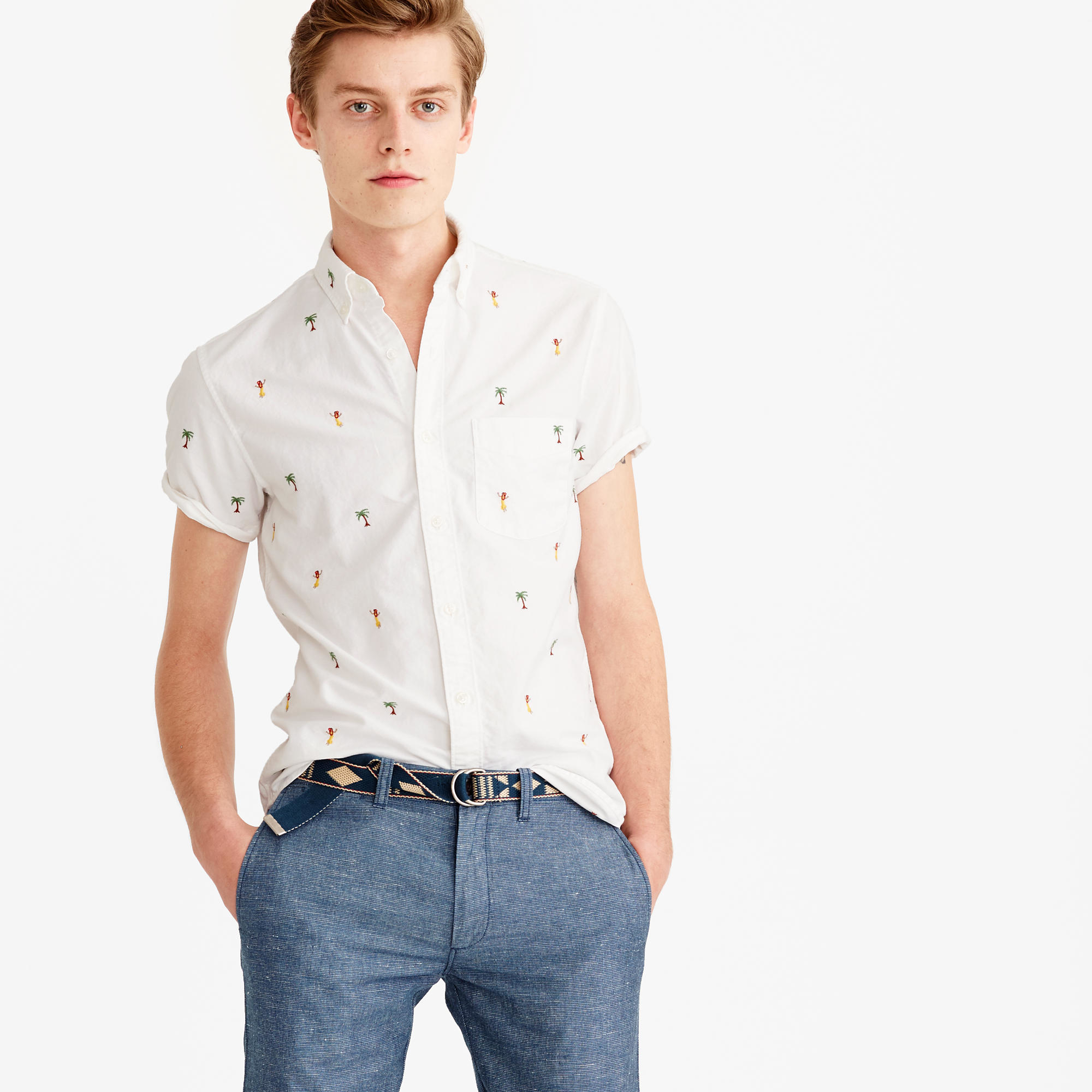 Lyst Jew Short Sleeve Oxford Shirt With Embroidered Palm Trees
