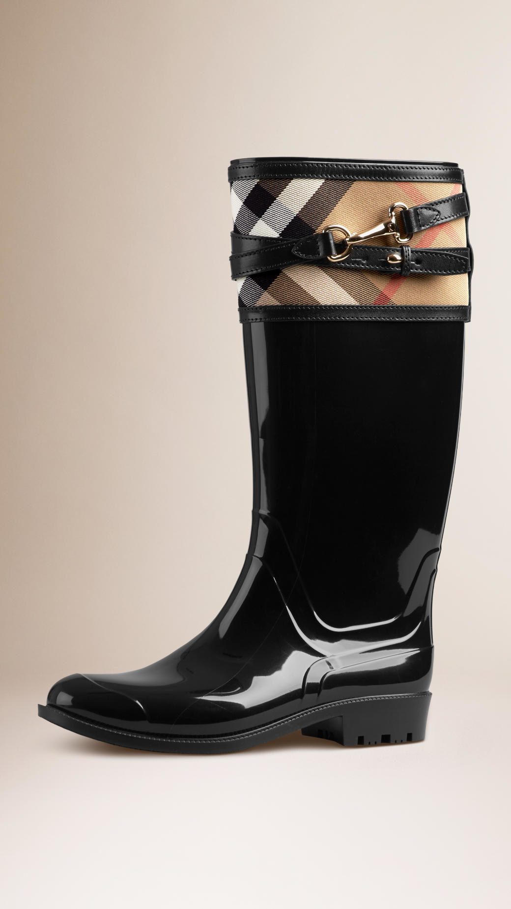 Lyst Burberry House Check Buckle Detail Rain Boots In Black